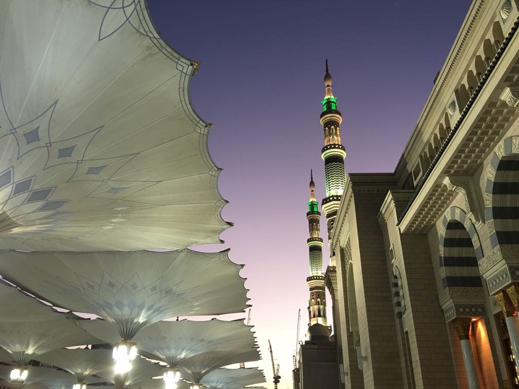 A glimpse of the first ray of sun in Madina, at Masjid Nabawi.